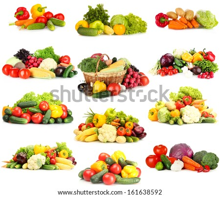 Collage of vegetables isolated on white - stock photo