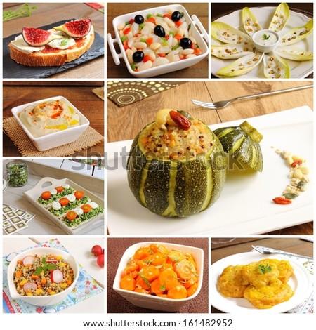 Collage of vegetarian recipes (stuffed zucchini, salads, bruschettas, crostinis, hummus...) - stock photo