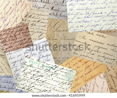 Collage of vintage handwriting samples - stock photo