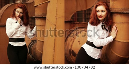 Collage of vintage portraits of beautiful red-haired (ginger) girl in white blouse over background of rusty tubes. Retro and steam-punk style. Outdoor shot - stock photo