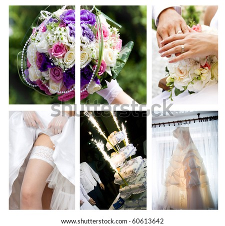 Collage of wedding photos - stock photo