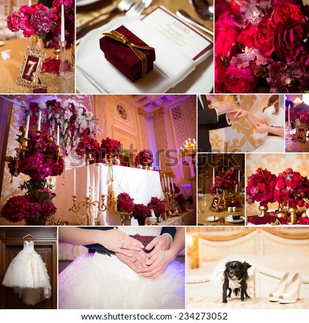 collage of wedding pictures decorations in red colour - stock photo