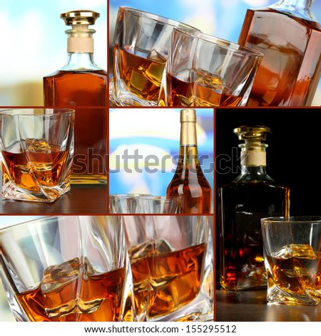 Collage of whiskey - stock photo