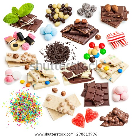 Collage of white and milk chocolate and candies isolated on white background - stock photo