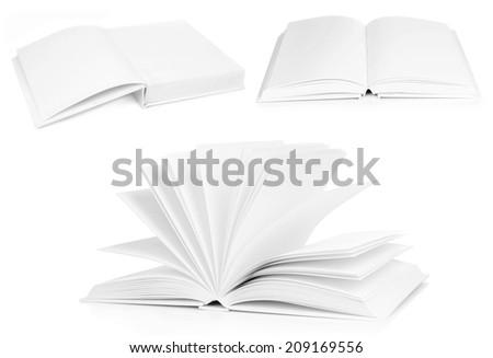 Collage of white empty books - stock photo