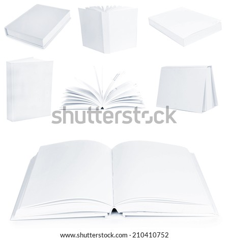 Collage of white empty books - stock photo
