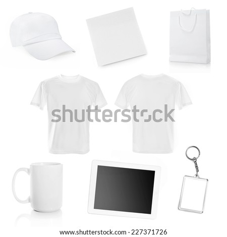 collage of white objects for corporate style isolated - stock photo