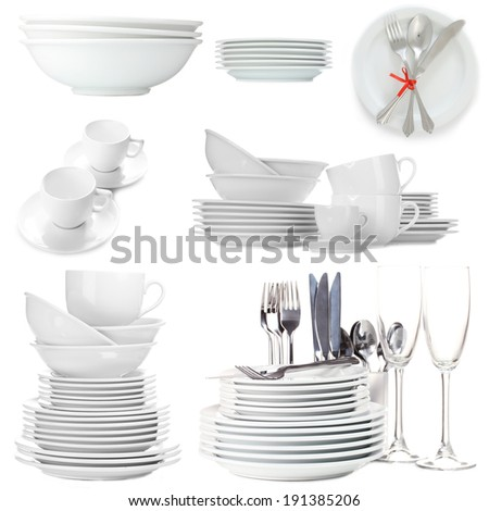 Collage of white tableware isolated on white - stock photo