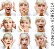 Collage of woman different facial expressions - stock