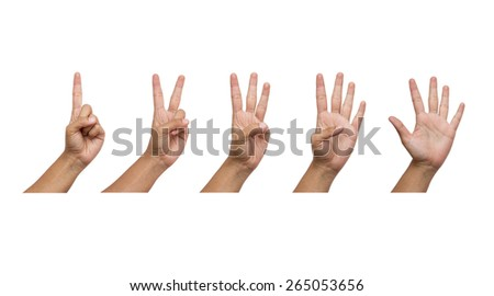 Collage of woman hands isolated on white background - stock photo