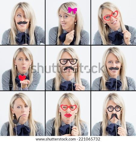 Collage of woman making funny faces - stock photo