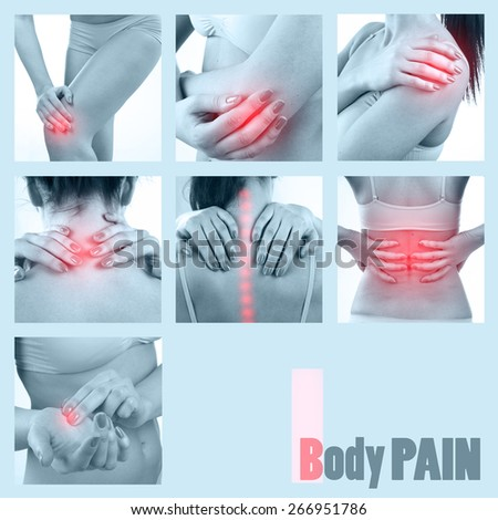 Collage of Woman's body pain, toned. Woman with knee, elbow, pain, spine, neck, hand and shoulder pain - stock photo