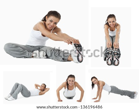Collage of woman stretching and doing sport - stock photo