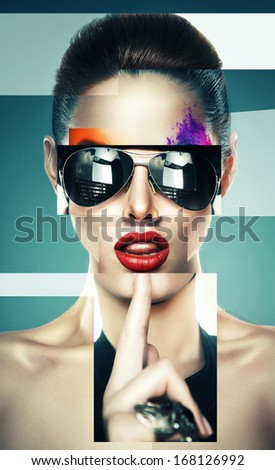 collage of woman with sunglasses - stock photo