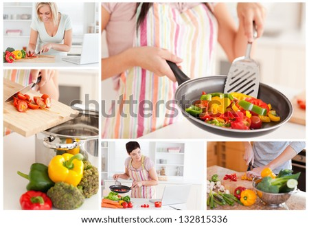 Collage of women cooking healthy food at home in the kitchen - stock photo