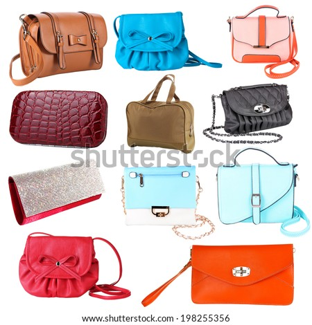 Collage of women's bags isolated on white - stock photo
