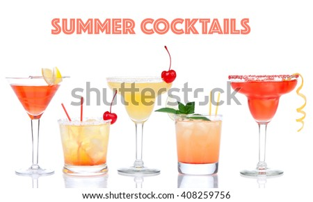 Collage of yellow red alcohol margarita martini cocktails composition with lemon and cherry in cocktail glasses isolated on a white background - stock photo