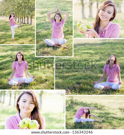 collage of yoga woman - stock photo