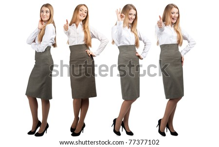 Collage of young and successful business woman in different poses - stock photo