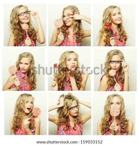 Collage of young blond woman face expressions composite  - stock photo
