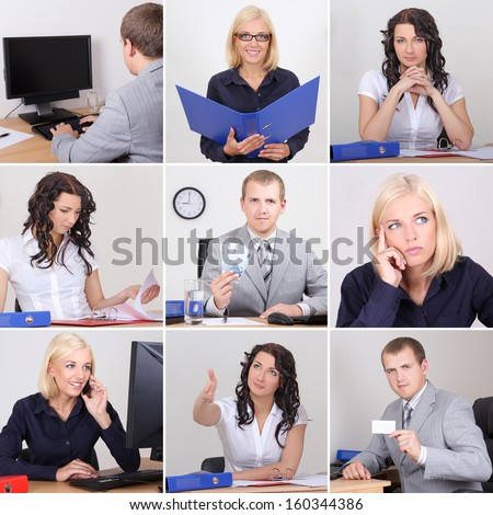 Collage of young business people working in office - stock photo