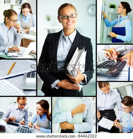 Collage of young businesswomen working in office - stock photo