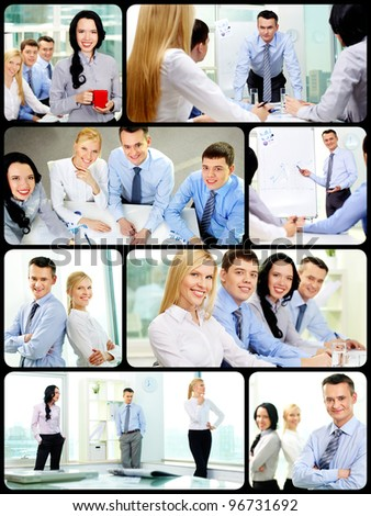 Collage of young confident business partners in office