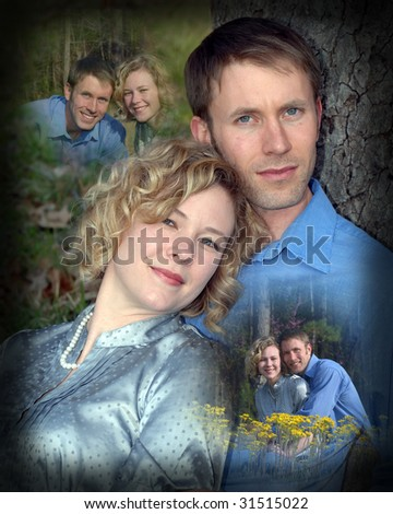 Collage of young couple and their life together.  He is wearing a blue shirt and she a grey shirt. - stock photo