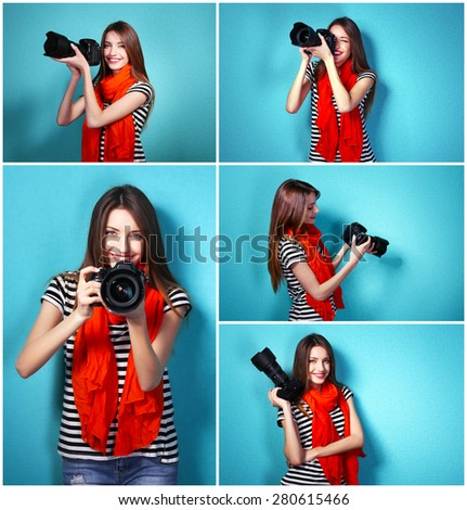 Collage of young female photographer on blue background - stock photo