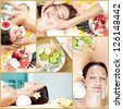 Collage of young females lying in beauty salon and spa accessories - stock photo