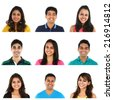 Collage of young Indian/Asian men and women portraits, isolated on white background. - stock photo