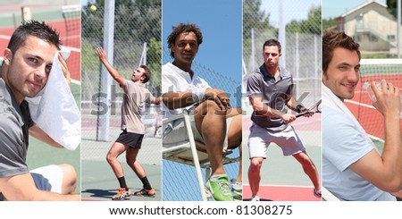 Collage of young men playing tennis - stock photo