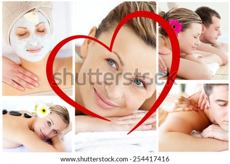 Collage of young people having relaxation treatments against heart - stock photo
