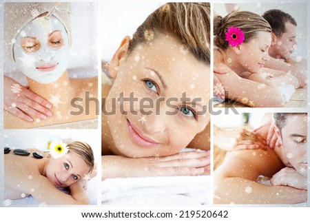Collage of young people having relaxation treatments against snow - stock photo