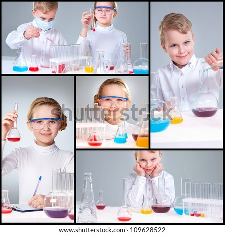 Collage of young prodigies carrying out scientific experiments - stock photo