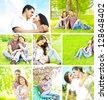 Collage of Young romantic couple in spring blossom park - stock photo