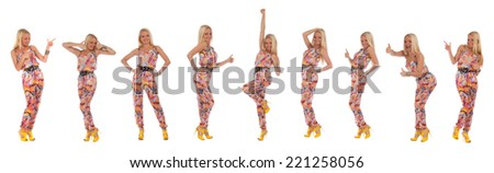 Collage of young teenage blonde girl over white background - stock photo