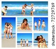 Collage of young woman on the beach - stock photo