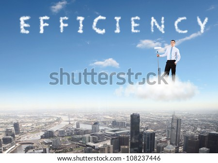 Collage on business theme with business person - stock photo