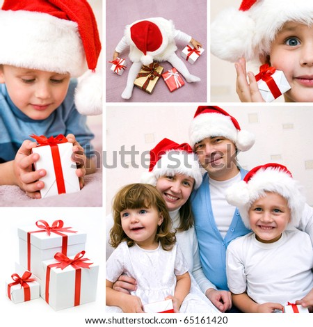 collage on the theme of Christmas: Christmas, family, kids, gifts - stock photo