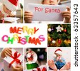 collage on the theme of Christmas: Christmas tree, kids, gifts - stock photo