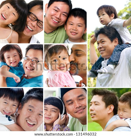 Collage photo father day concept. Diversity family generations having fun at outdoor park and living lifestyle at home. All photos belong to me. - stock photo