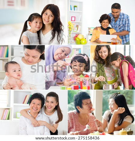 Collage photo mothers day concept. Family generations having fun indoors living lifestyle.  - stock photo