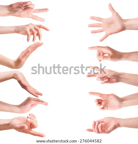 collage photo of female hands on a white background