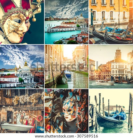 collage  photos canals, gondolas and Venice mask - stock photo