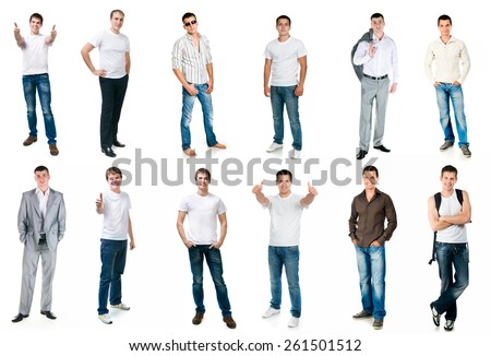 collage photos of men in full-length  isolated on white background - stock photo