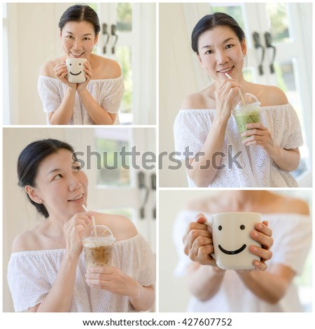 collage picture of women drinking ice coffee in coffee shop - stock photo