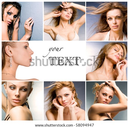 collage portraits of beautiful young women as a business card - stock photo