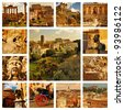 Collage Rome - Roma, Italy. Forum Romanum, Coliseum, Pantheon, fountains in Rome and panoramic view with roofs - stock photo