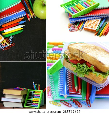 collage school stationery and  lunch box - Back to school concept - stock photo